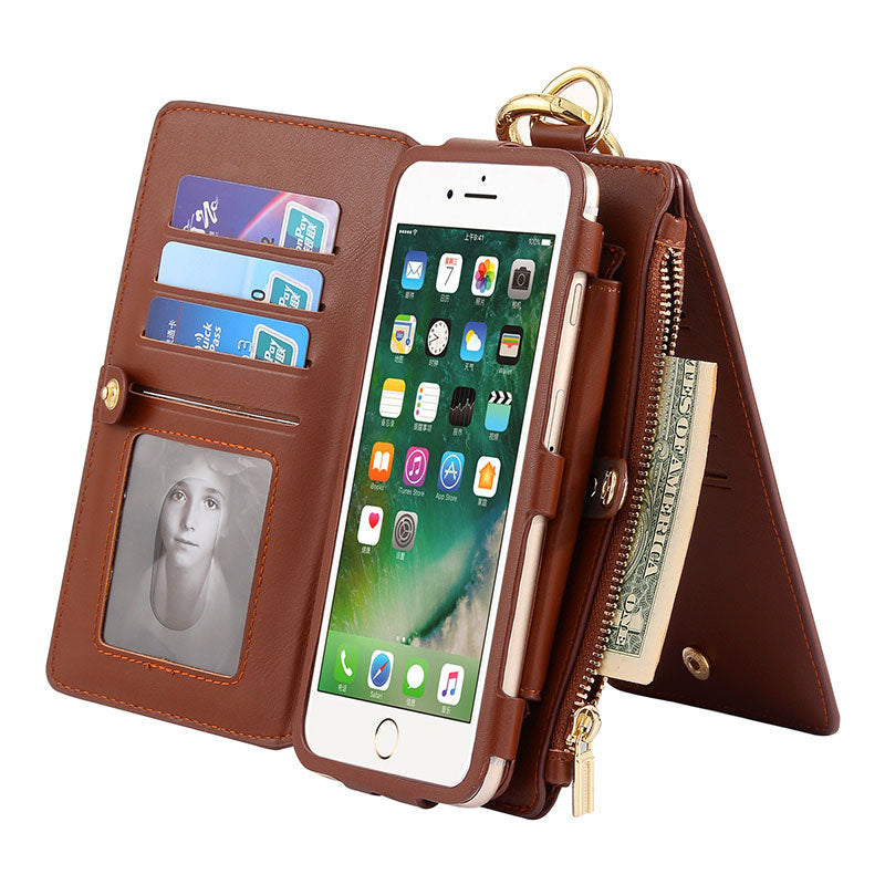 Genuine leather wallet card slots flip magnet separable iPhone 7 Case
