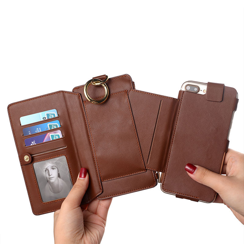 Genuine leather wallet card slots flip magnet separable iPhone 6/6S Plus Case