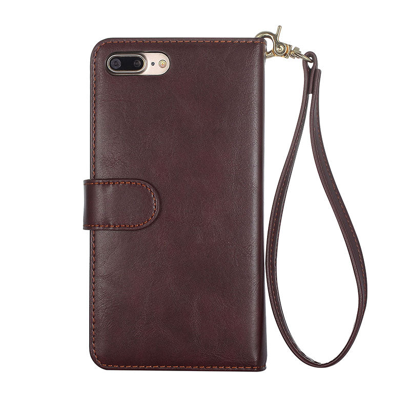 Genuine leather wallet with girdle and seperate wallet iPhone 7 Plus case