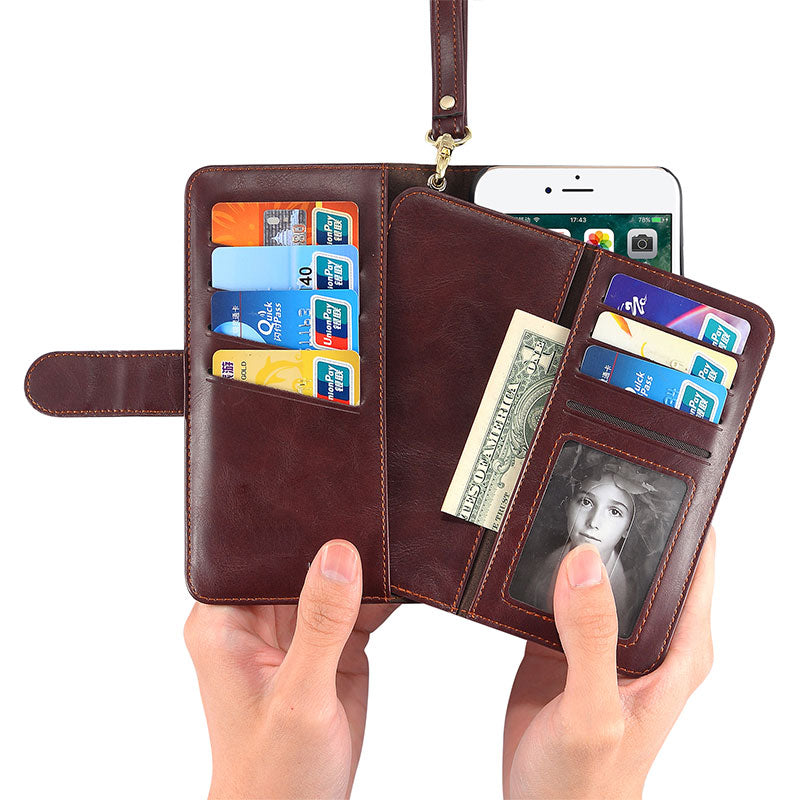 Genuine leather wallet with girdle and seperate wallet iPhone 7 case