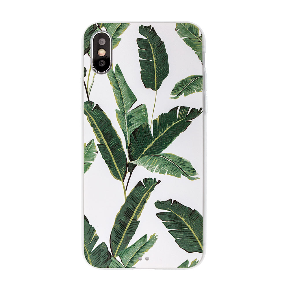 Banana leaf embossment soft bumper tough iPhone XS Case 5.8""