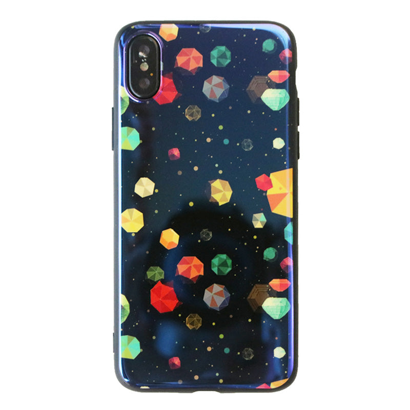 Blue laser space rocks pattern soft iPhone XS Case 5.8""