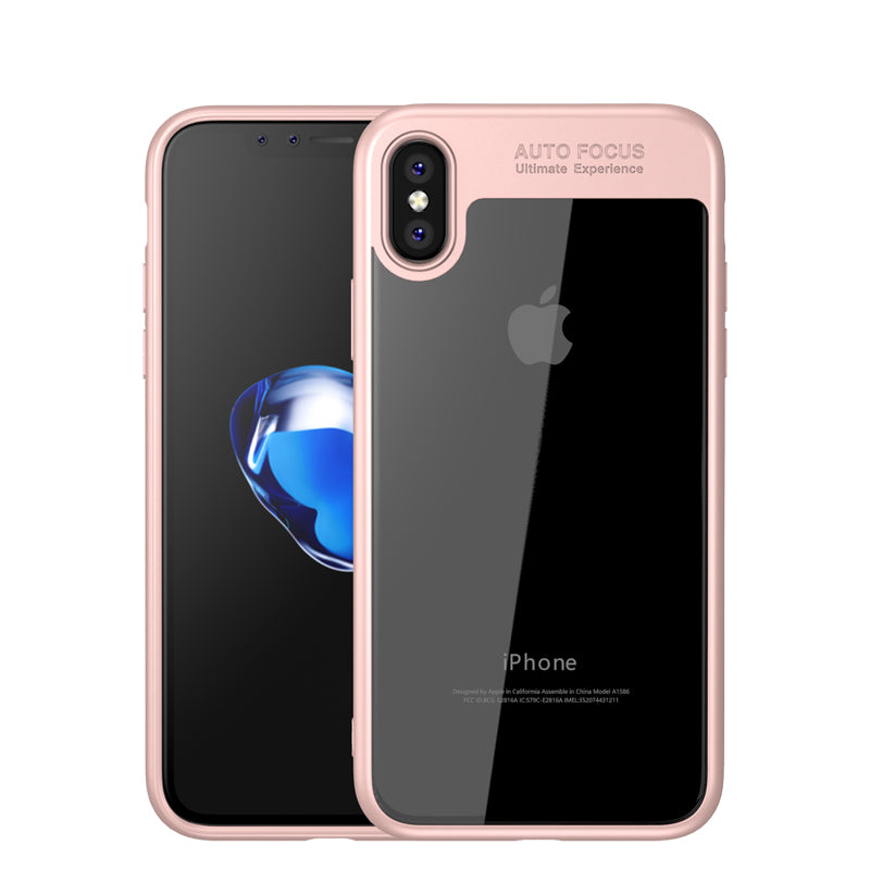 Auto Focus colorful TPU silicone + transparent PC iPhone X Case Cover