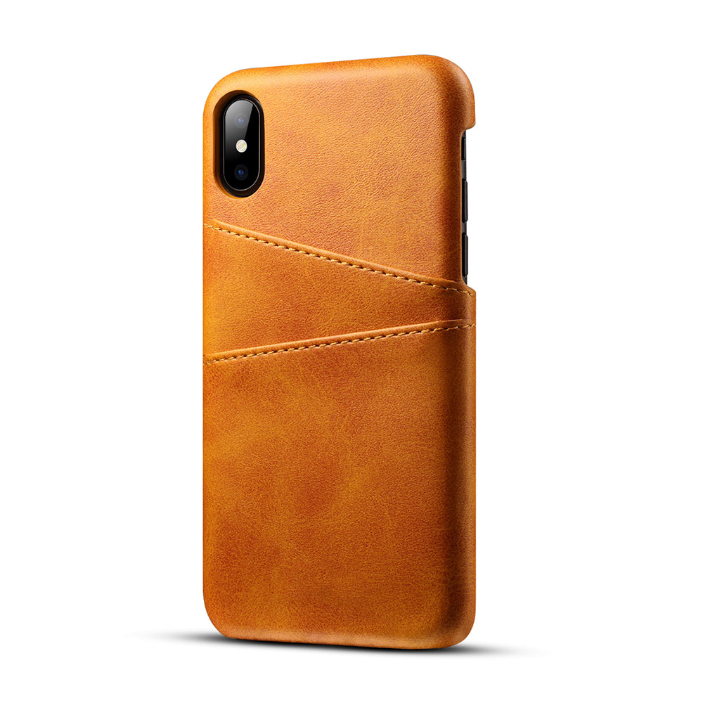 Genuine leather case with two back card slots iPhone XS Case 5.8""