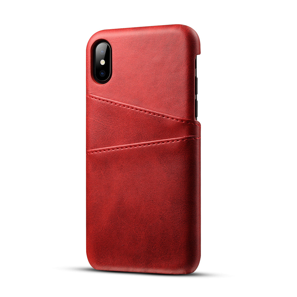 online retailer 0af62 4965a Genuine leather case with two back card slots iPhone X Case Cover