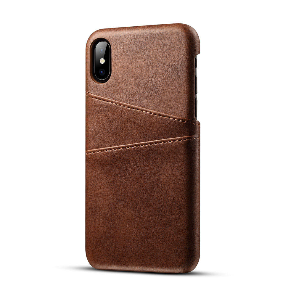 Genuine leather case with two back card slots iPhone X Case Cover