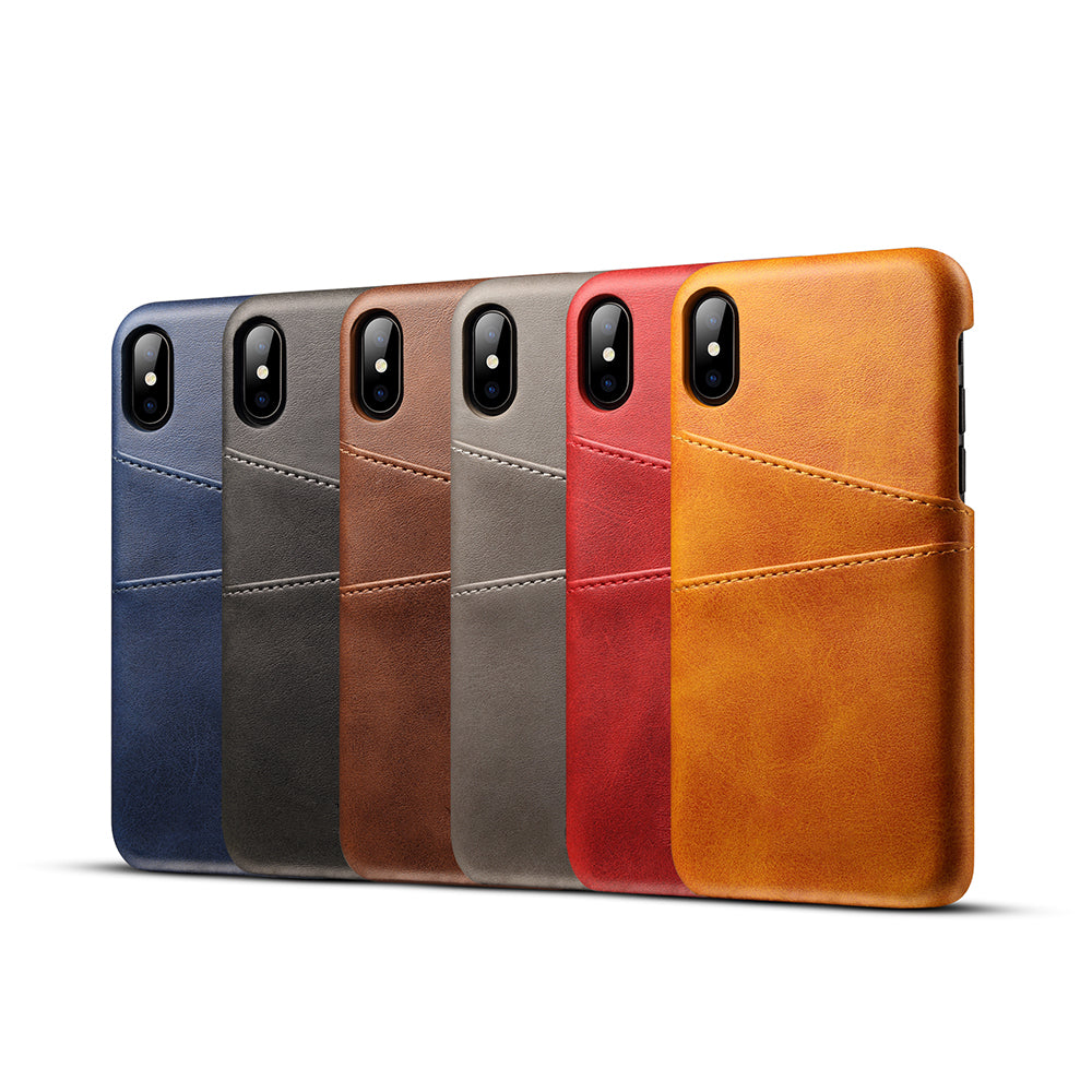 online retailer ebb80 2c76c Genuine leather case with two back card slots iPhone X Case Cover