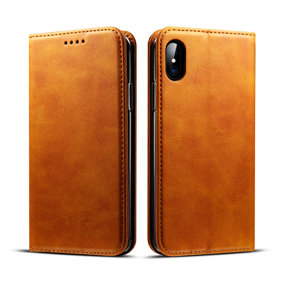 Genuine leather wallet magnet close and card slots iPhone X Case Cover