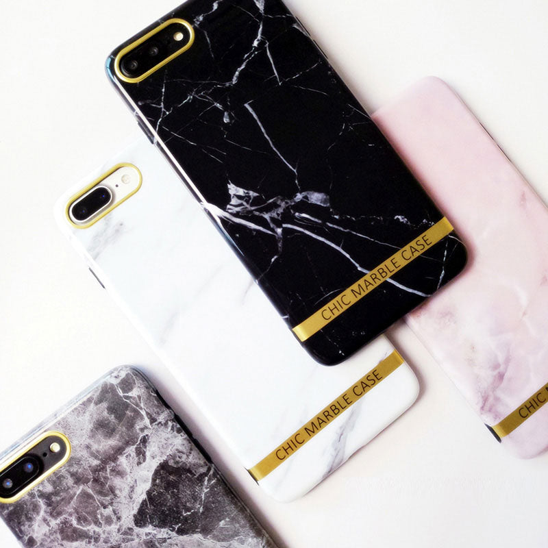 Marble with Metal style fashion design iPhone 7 Plus Case