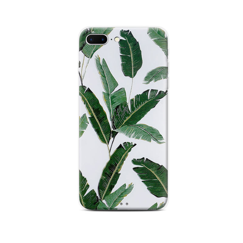 Banana leaf embossment soft bumper tough back case iPhone 7 Plus Case