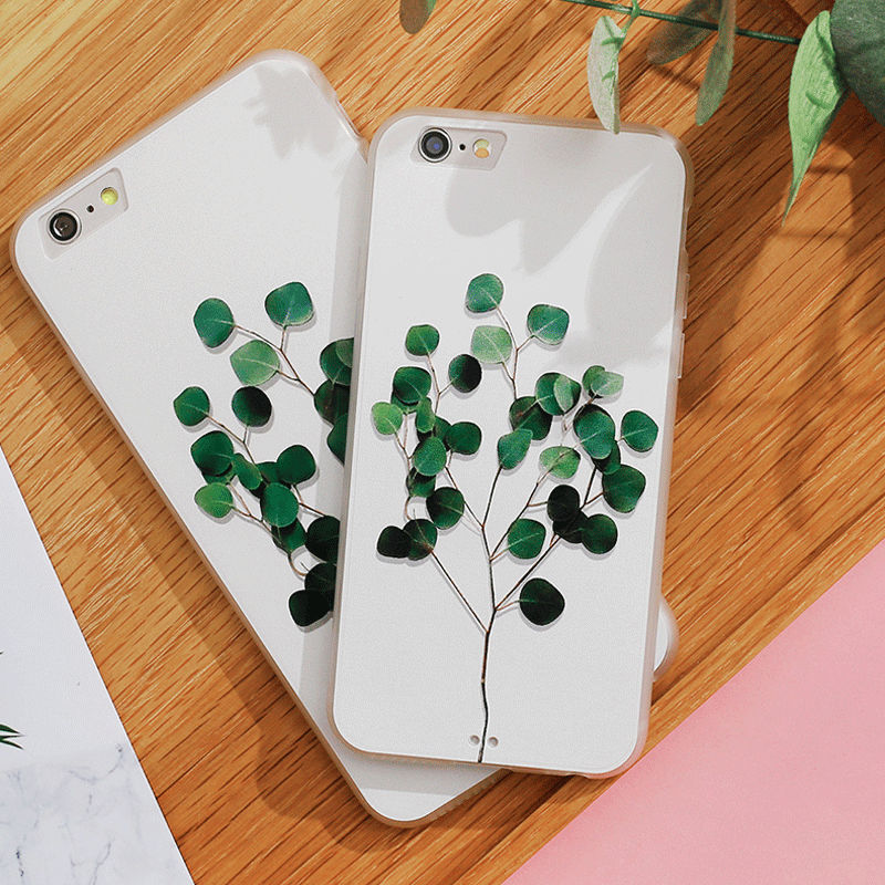 Stereoscopic green tree pattern soft TPU slim iPhone 6/6s case