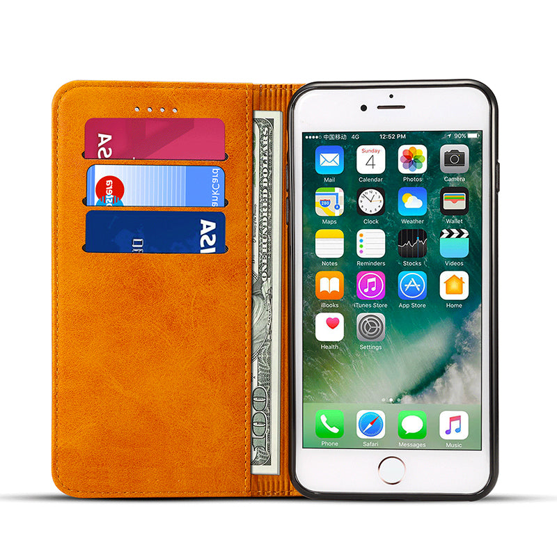 Genuine leather wallet magnet close and card slots iPhone 8 Plus Case