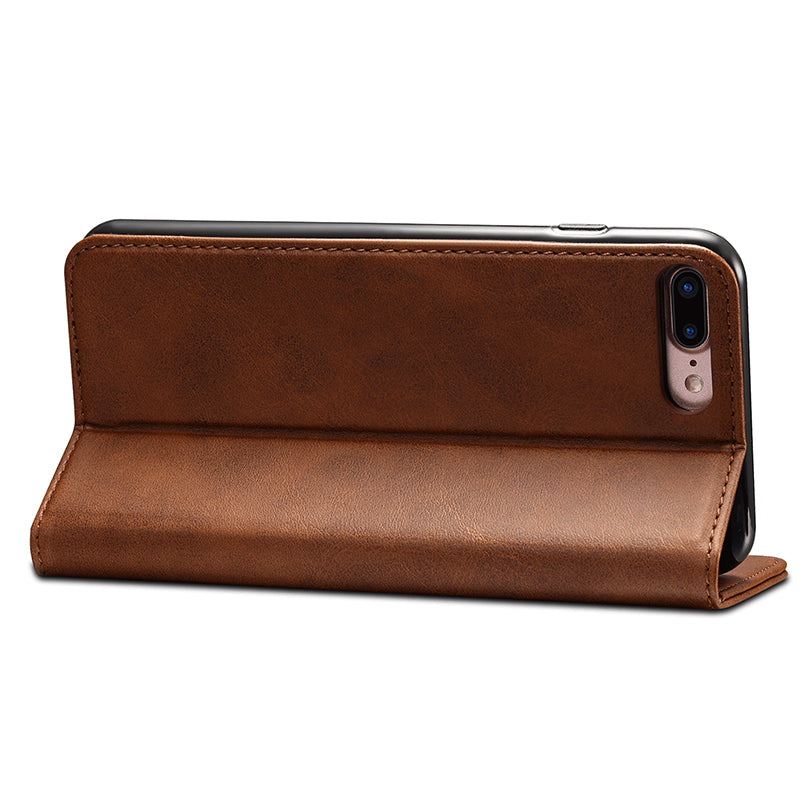 Genuine leather wallet magnet close and card slots iPhone 7 Plus Case