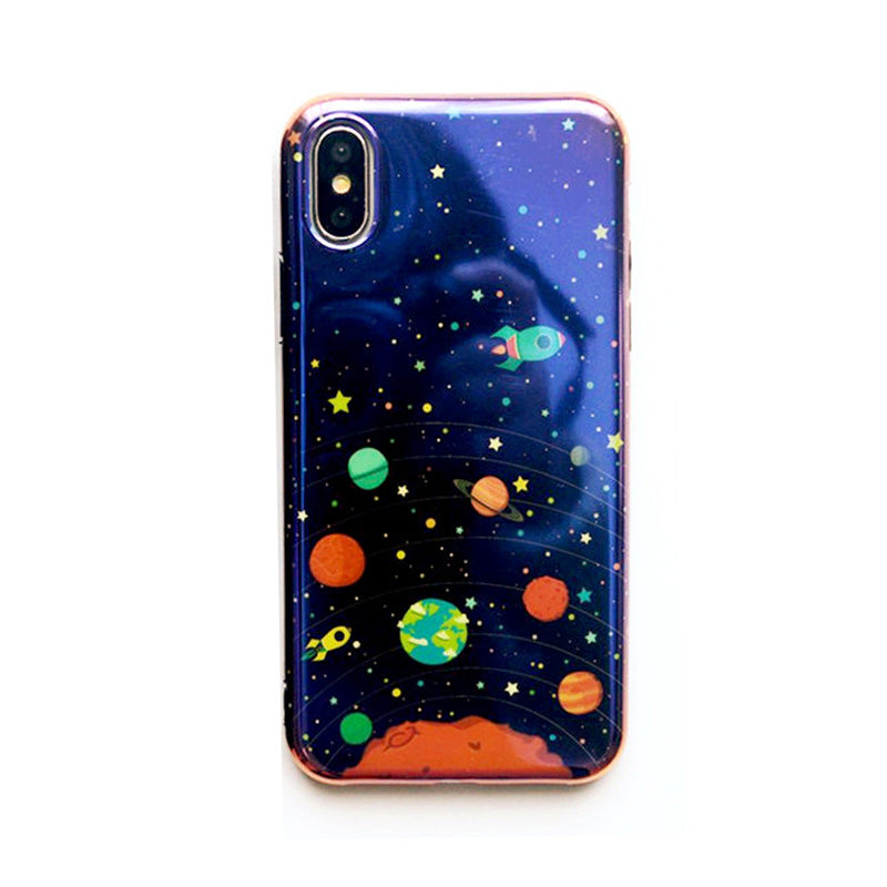 Blue laser space rocket pattern soft iPhone X/10 Case
