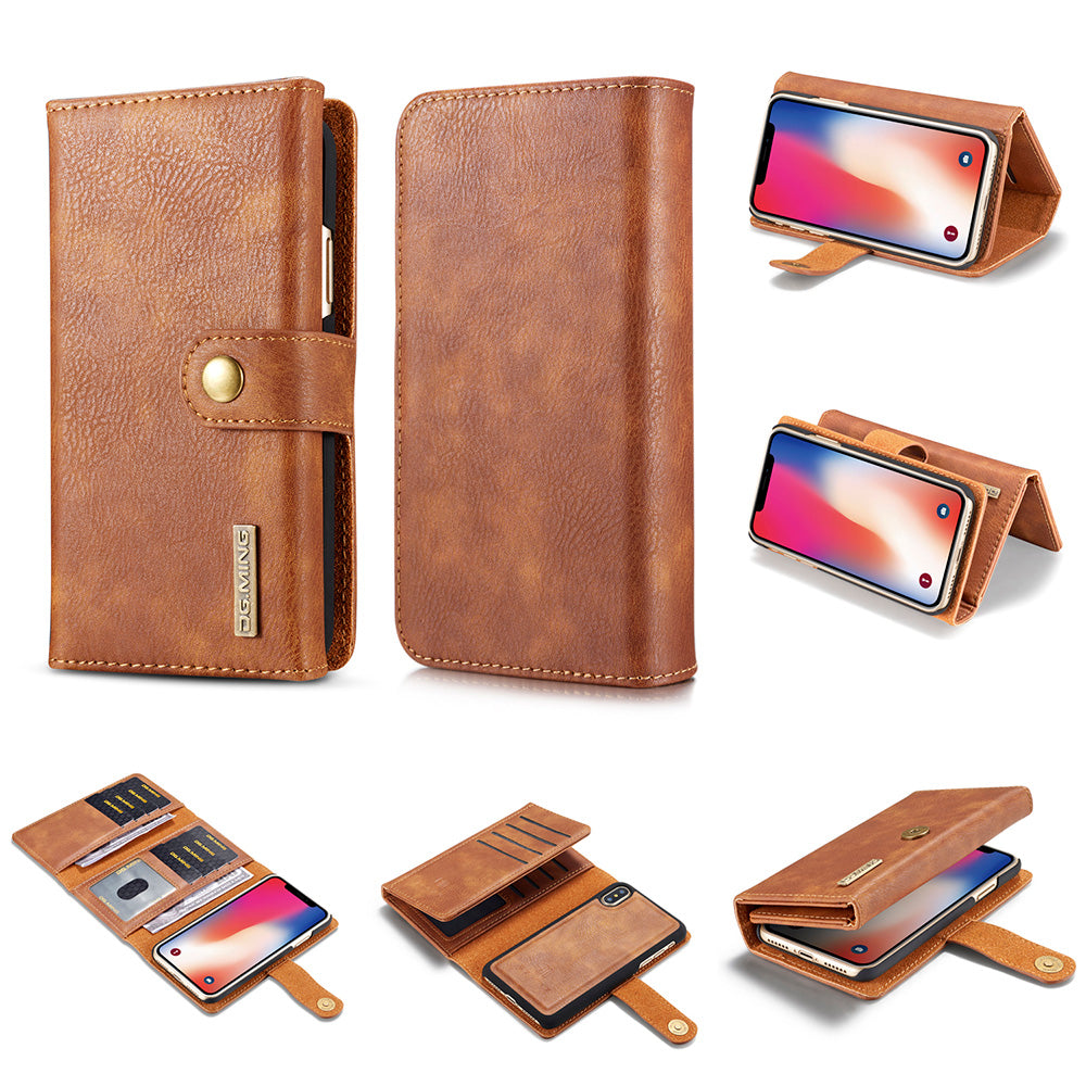 Genuine leather mega storage wallet folio iPhone iPhone XS Case 5.8""