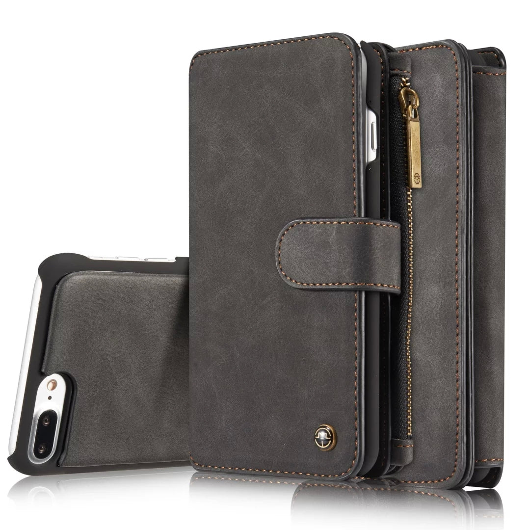 Genuine leather separable flip with 14 cards wallet iPhone 8+ Plus Case 5.5 inch