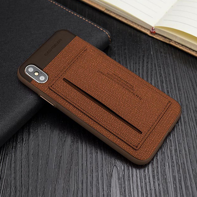 Business style Leather fiber pattern with card slot stand iPhone XS Case 5.8""