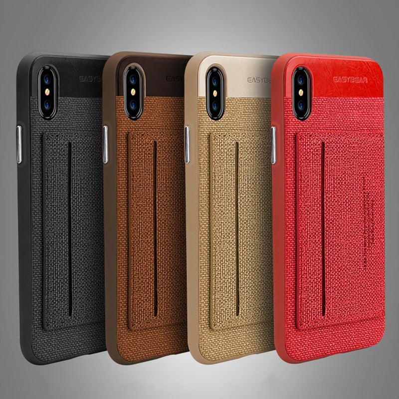 Business style TPU bumper fiber back with card slot and stand iPhone ...
