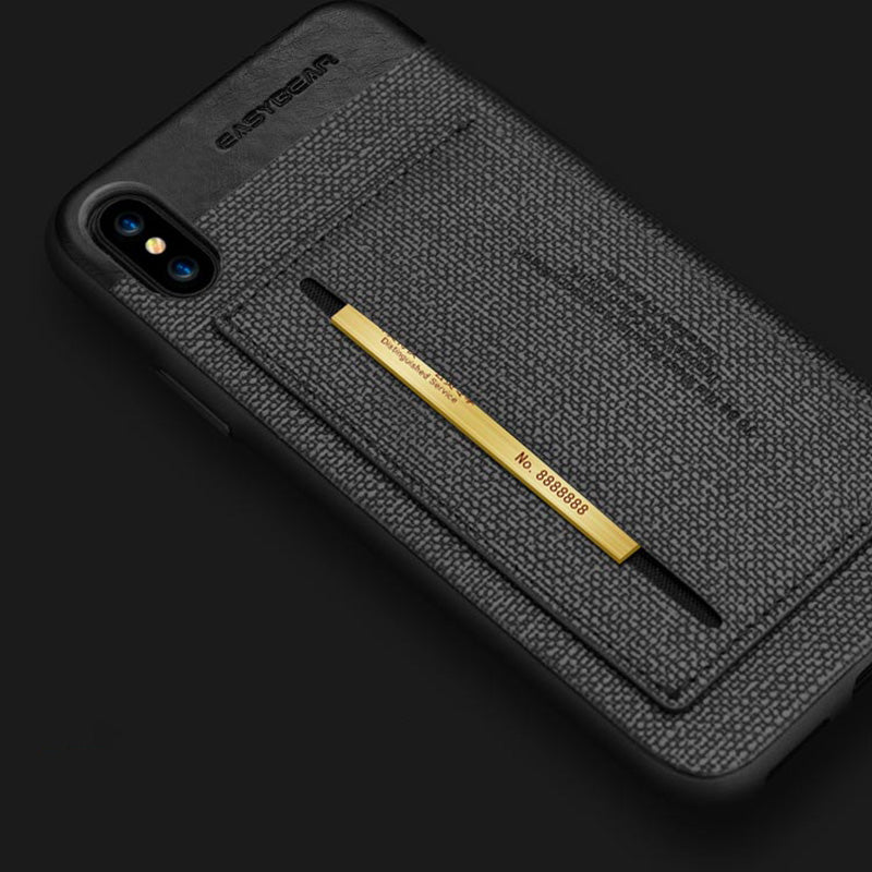 Business style Leather fiber pattern with card slot stand iPhone X 10 Case