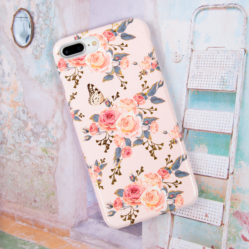 Soft TPU pink flower pattern with gold glitter iPhone 6 Case 4.7 inch