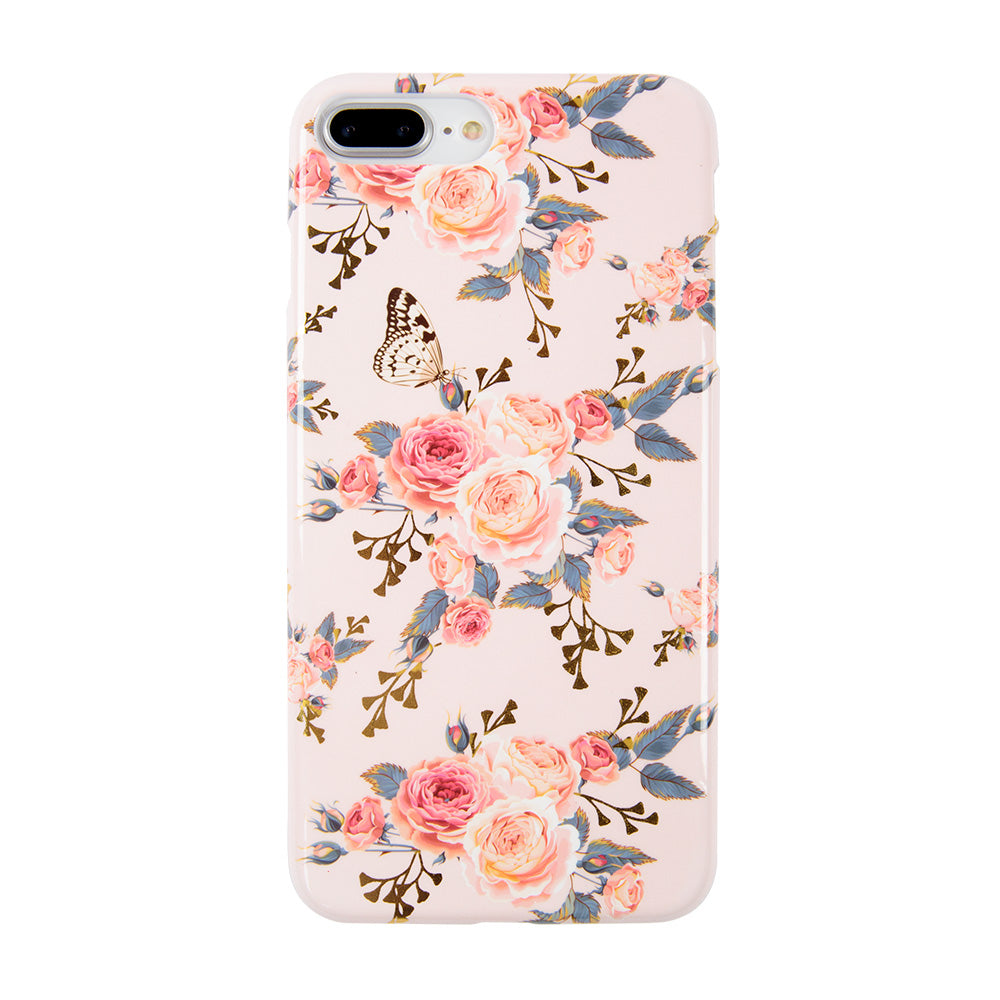 Soft TPU pink flower pattern with gold glitter iPhone 8 Case 4.7 inch