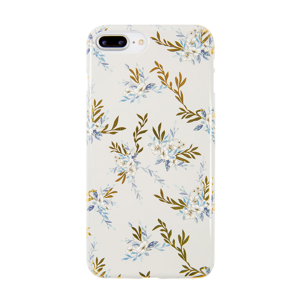 Soft TPU white flower pattern with gold glitter iPhone 8 case 4.7 inch
