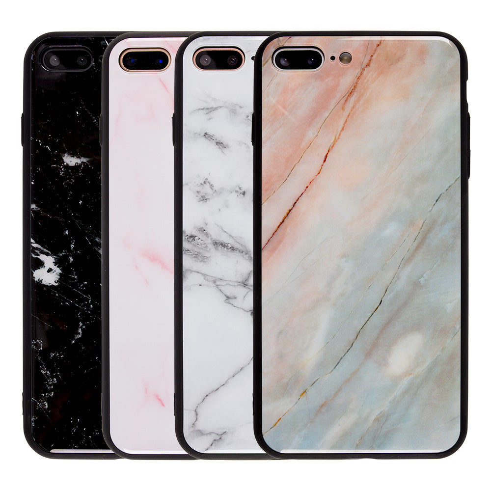 best sneakers 8e06f e8eb1 Tempered glass clear marble pattern ultra thin iPhone 8+ Plus Case 5.5 inch