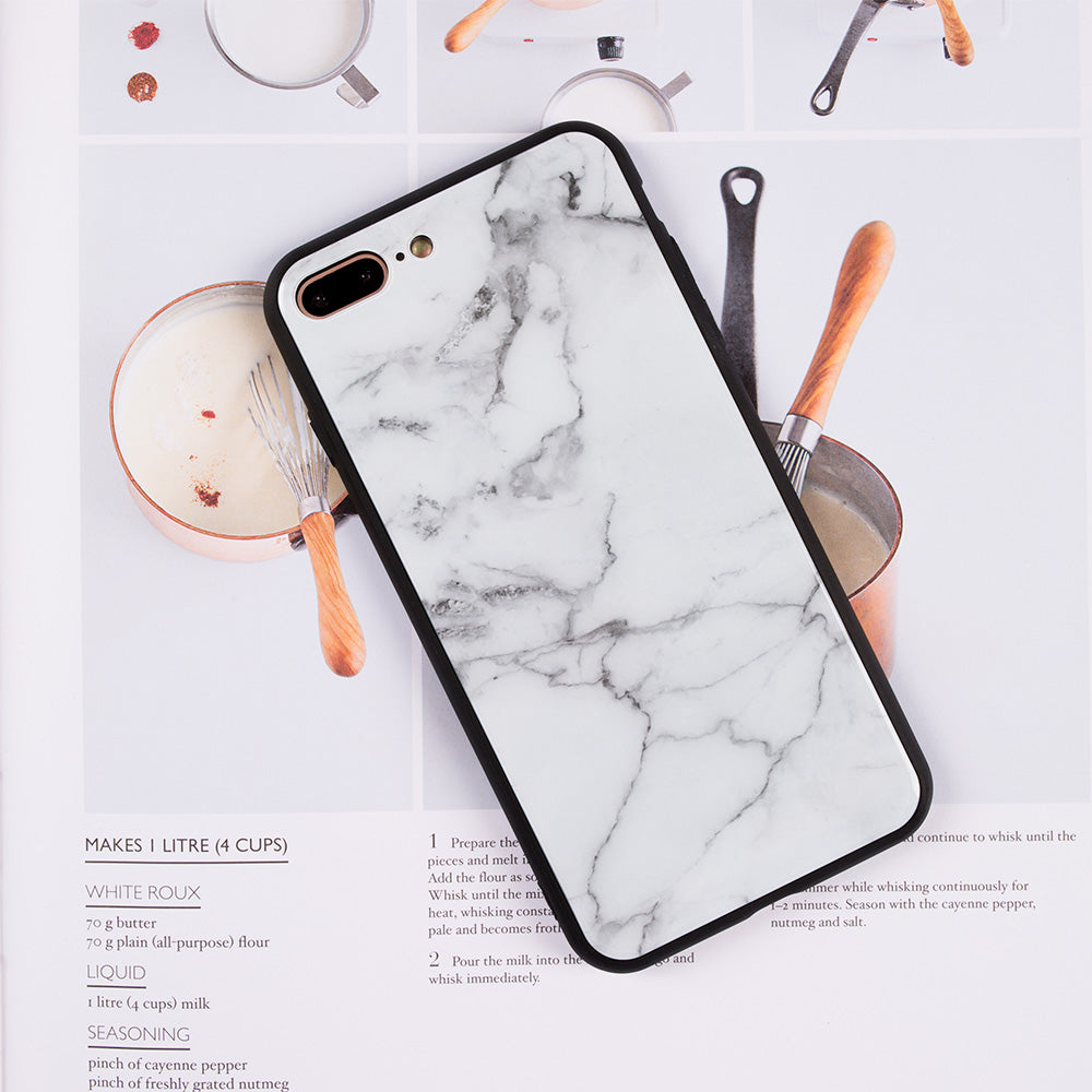 pretty nice 5b695 4ba9b Tempered glass clear marble pattern ultra thin iPhone 7+ Plus Case 5.5