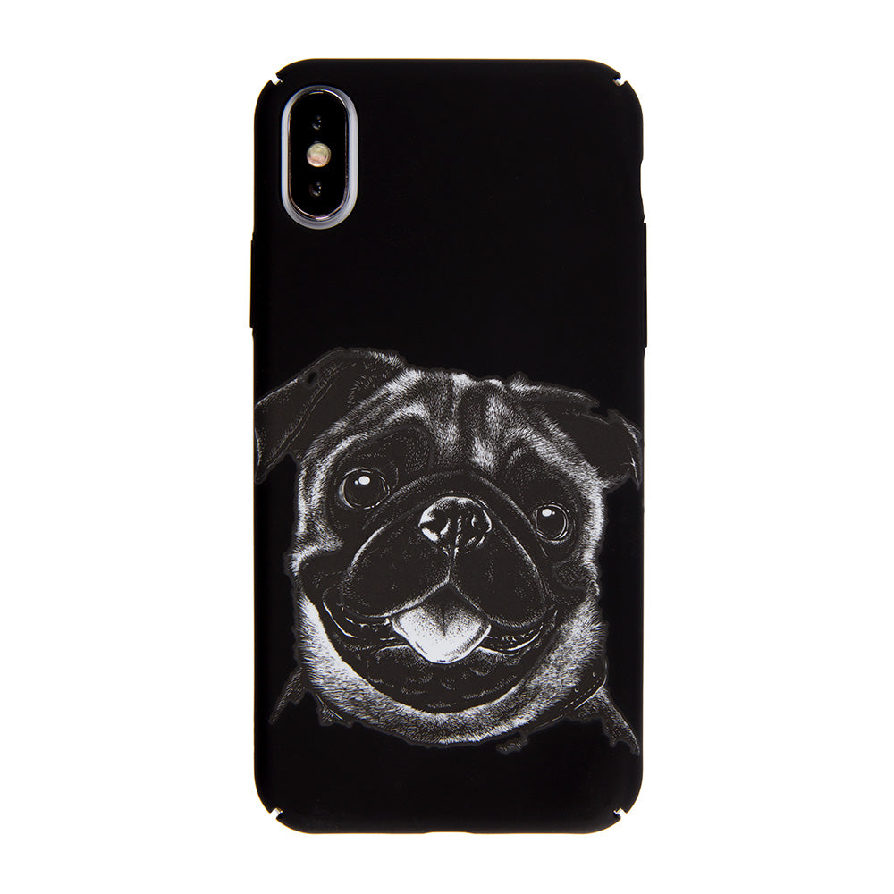 Cute Black Bulldog ultra thin tough PC iPhone XS Case 5.8""