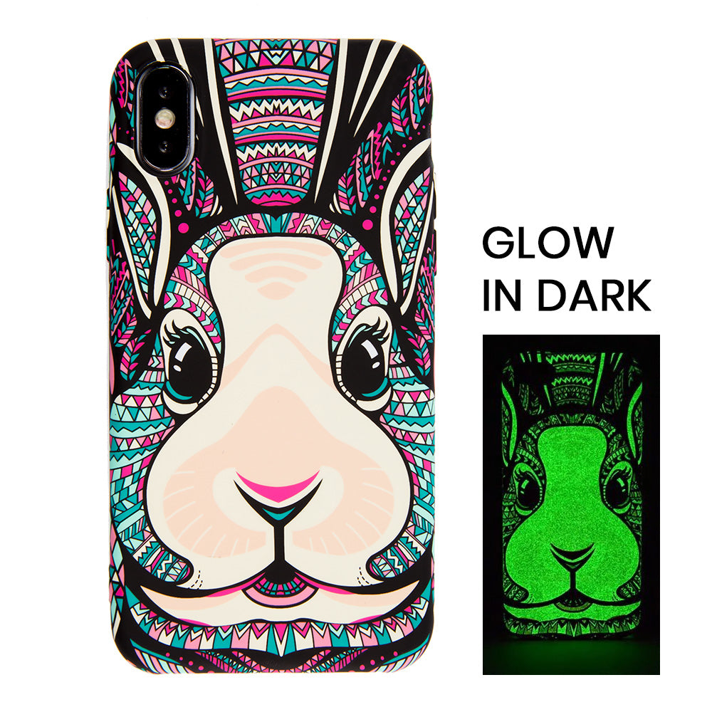 Cute luminous rabbit soft TPU protection iPhone XS Case 5.8""
