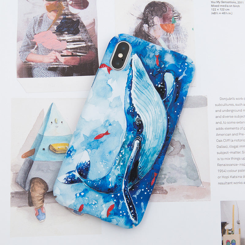 Blue whale ultra thin tough PC iPhone X Case