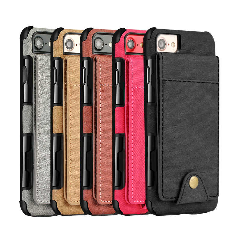 Oxford fabric 5 cards back pocket protection iPhone 8+ Plus Case 5.5 inch
