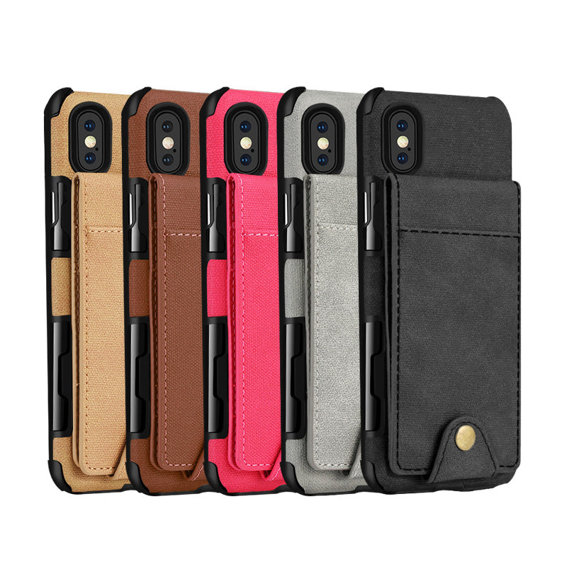 Oxford fabric 5 cards back pocket protection iPhone X/10 Case