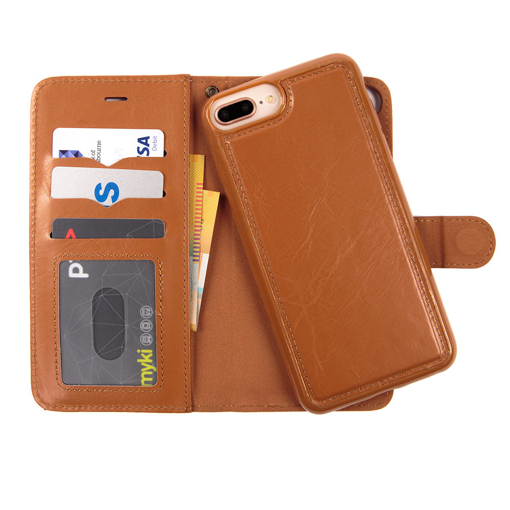 Detachable real leather magnet connected iPhone 7+ Plus case 5.5 inch