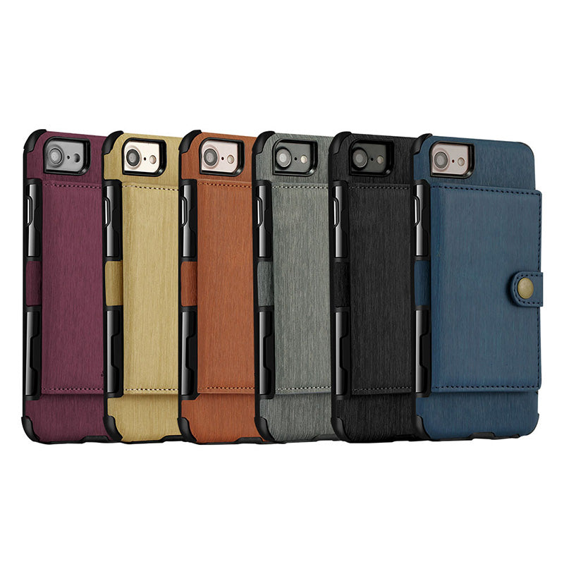 Designed leather back pocket with 3 card slots iPhone 7+ Plus Case 5.5 inch