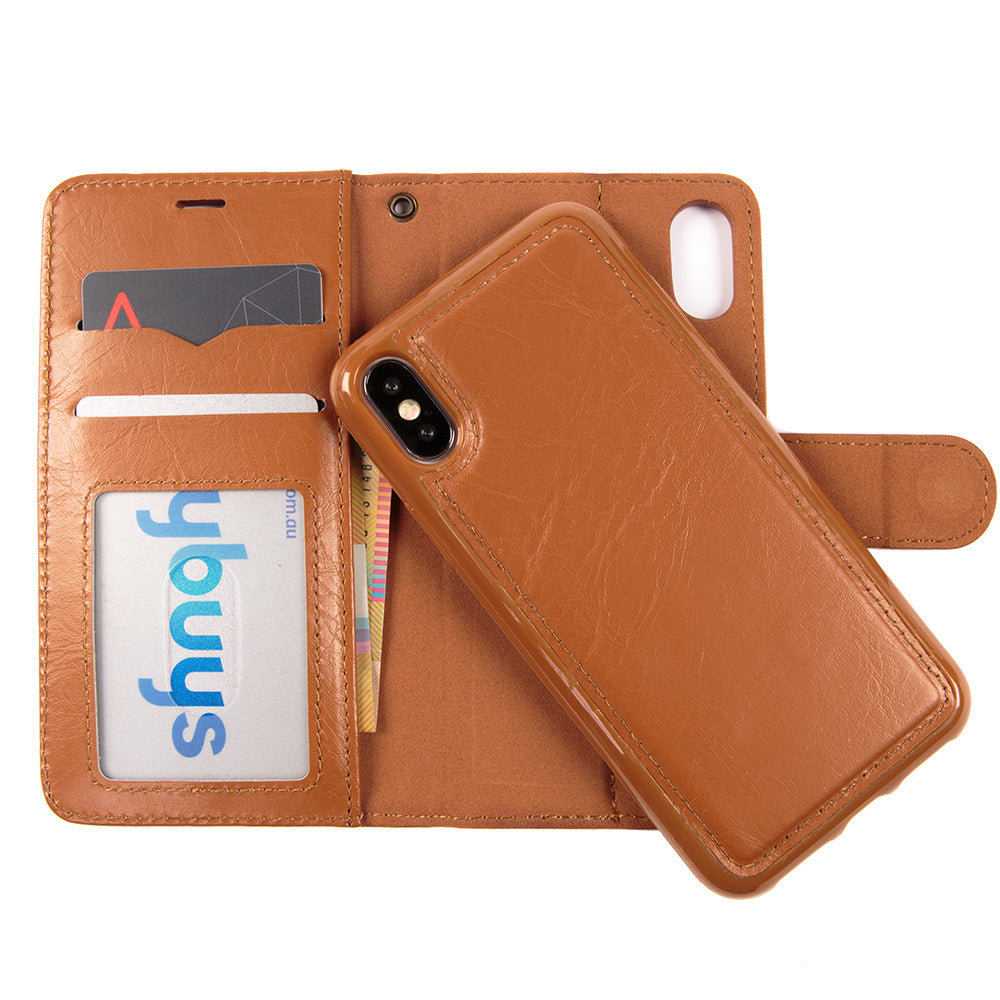 Detachable real leather magnet connected iPhone X 10 case