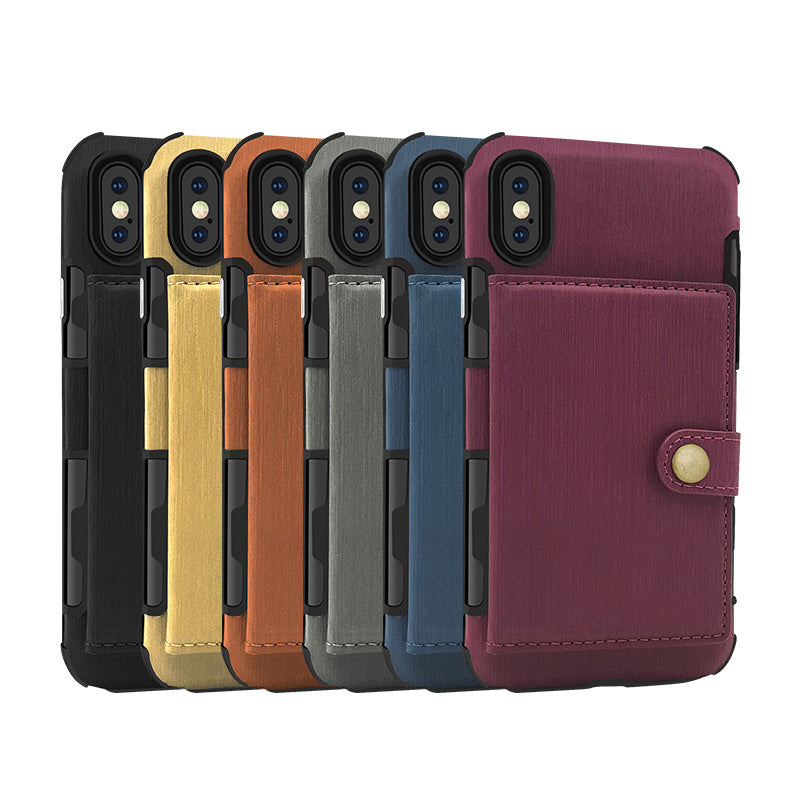 Designed leather back pocket with 3 card slots iPhone XS Case 5.8""