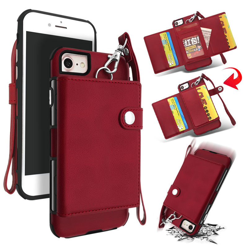 Soft leather 8 Card slots cash pocket hand strap iPhone 7+ Plus Case 5.5 inch
