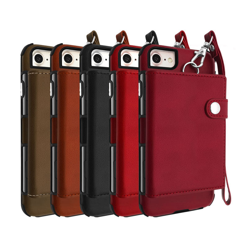 Soft leather 8 Card slots cash pocket hand strap iPhone 6+ Plus Case 5.5 inch