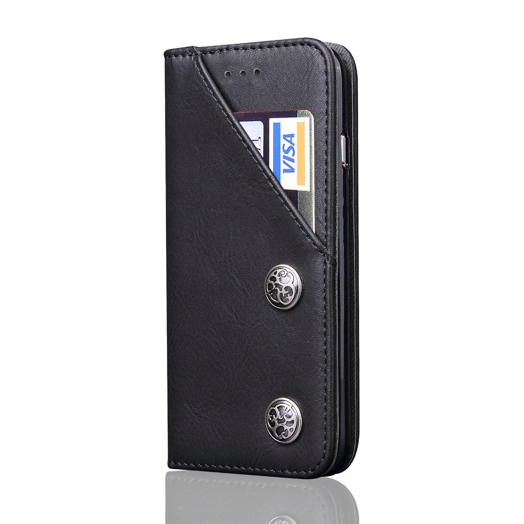 Genuine leather wallet with front pocket iPhone 8+ Plus Case 5.5 inch