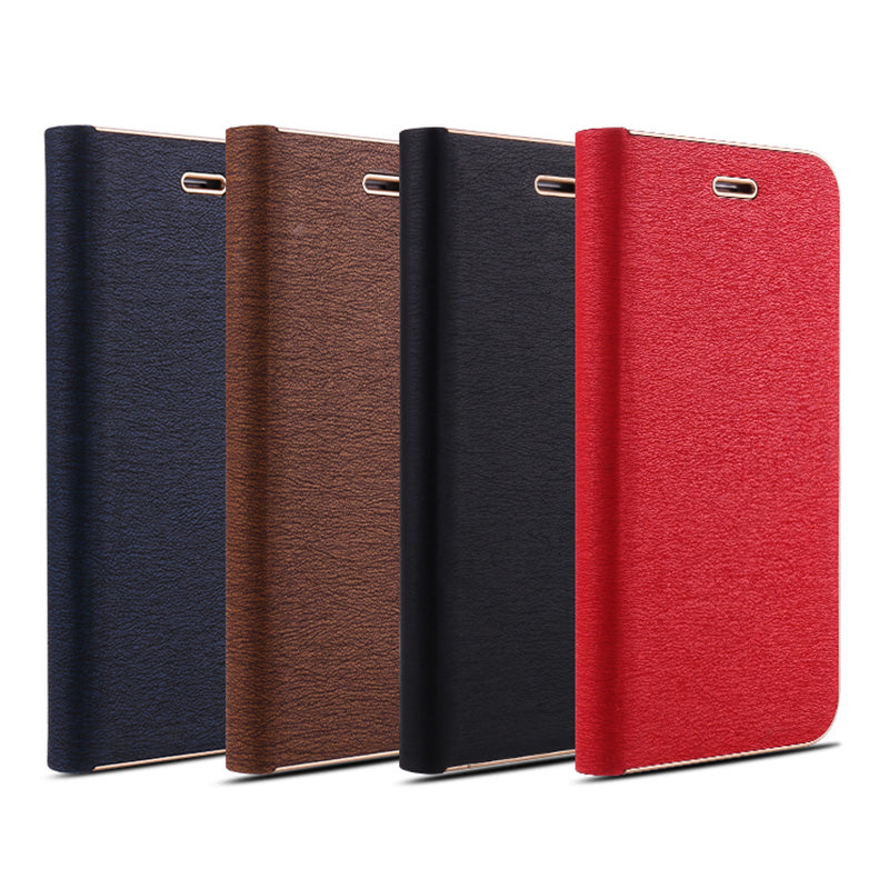 Ultra slim designed leather magnet flip wallet metal bumper iPhone 6+ Plus Case 5.5 inch