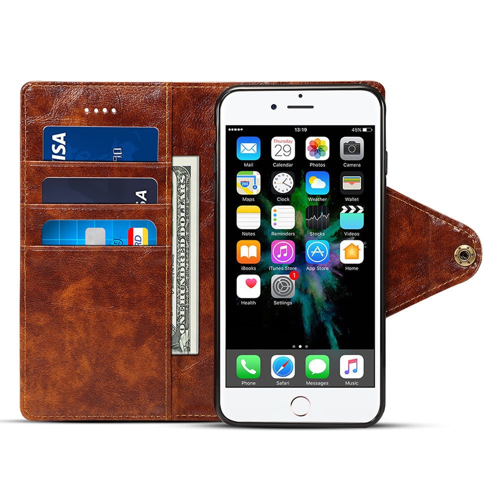 Genuine leather fashion design clasp folio wallet iPhone 8+ Plus Case 5.5 inch