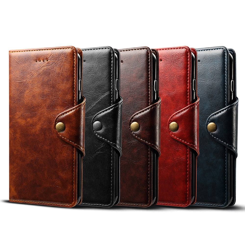 Genuine leather fashion design clasp folio wallet iPhone XS Case 5.8""