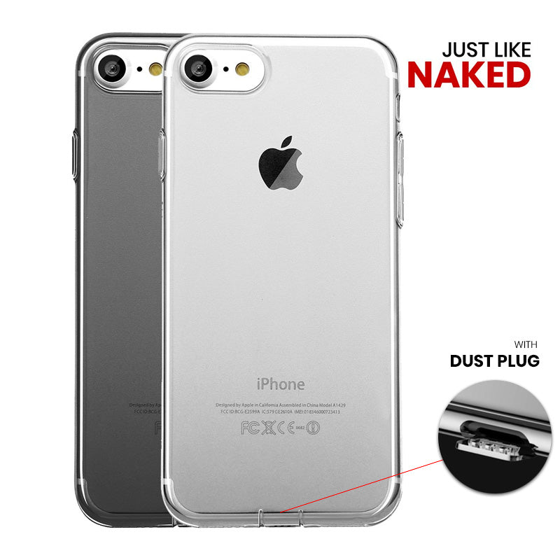 free shipping e5a79 91676 Ultra Slim Clear Transparent iPhone 8 Plus 5.5 inch Case with dust-proof  plug