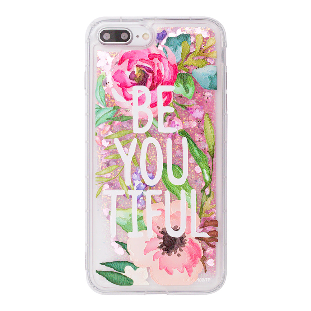 "Glitter liquid shinning ""Be You Tiful"" pattern iPhone 8 Plus Case 5.5 inch"