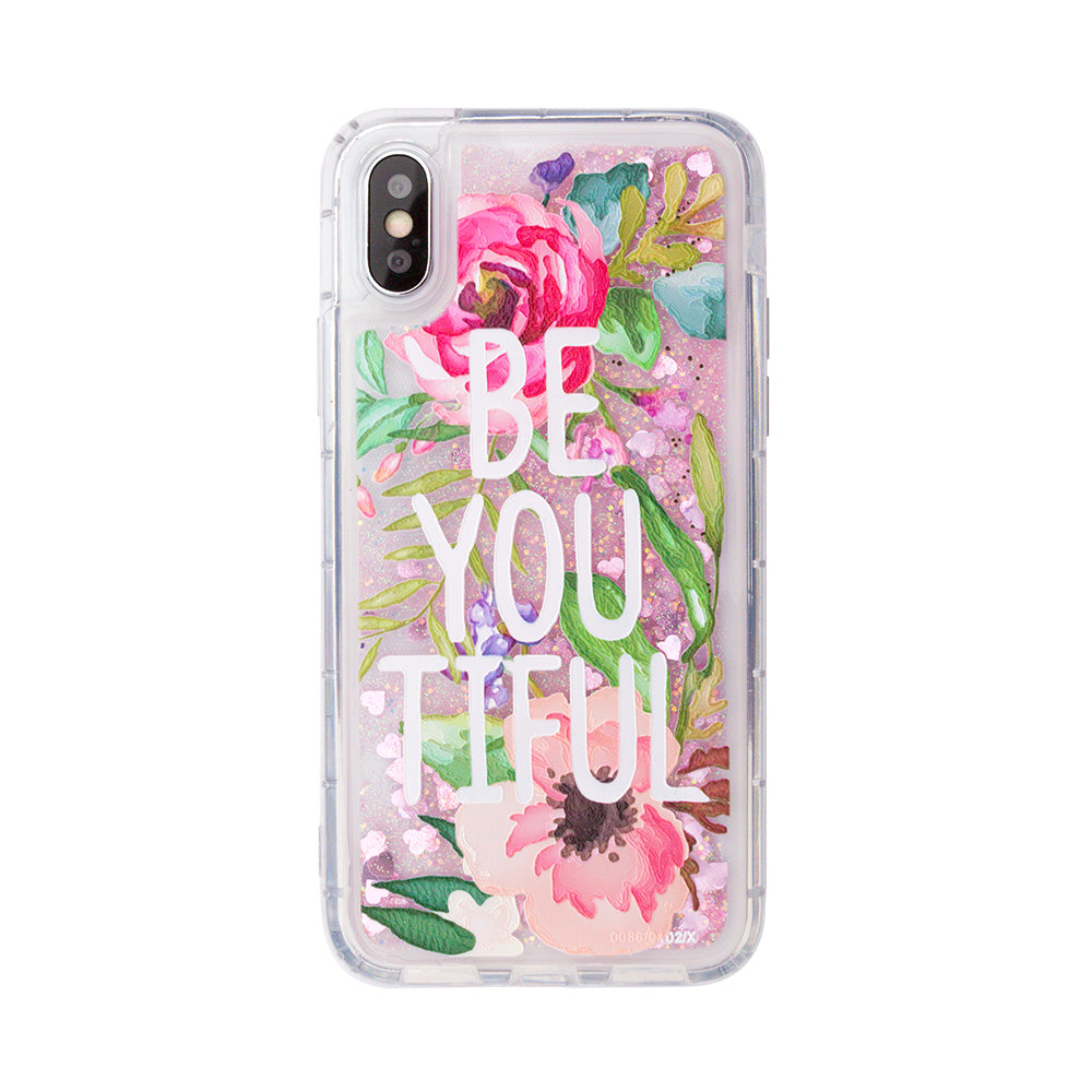 "Glitter liquid shinning ""Be You Tiful"" pattern iPhone XS Case 5.8"""