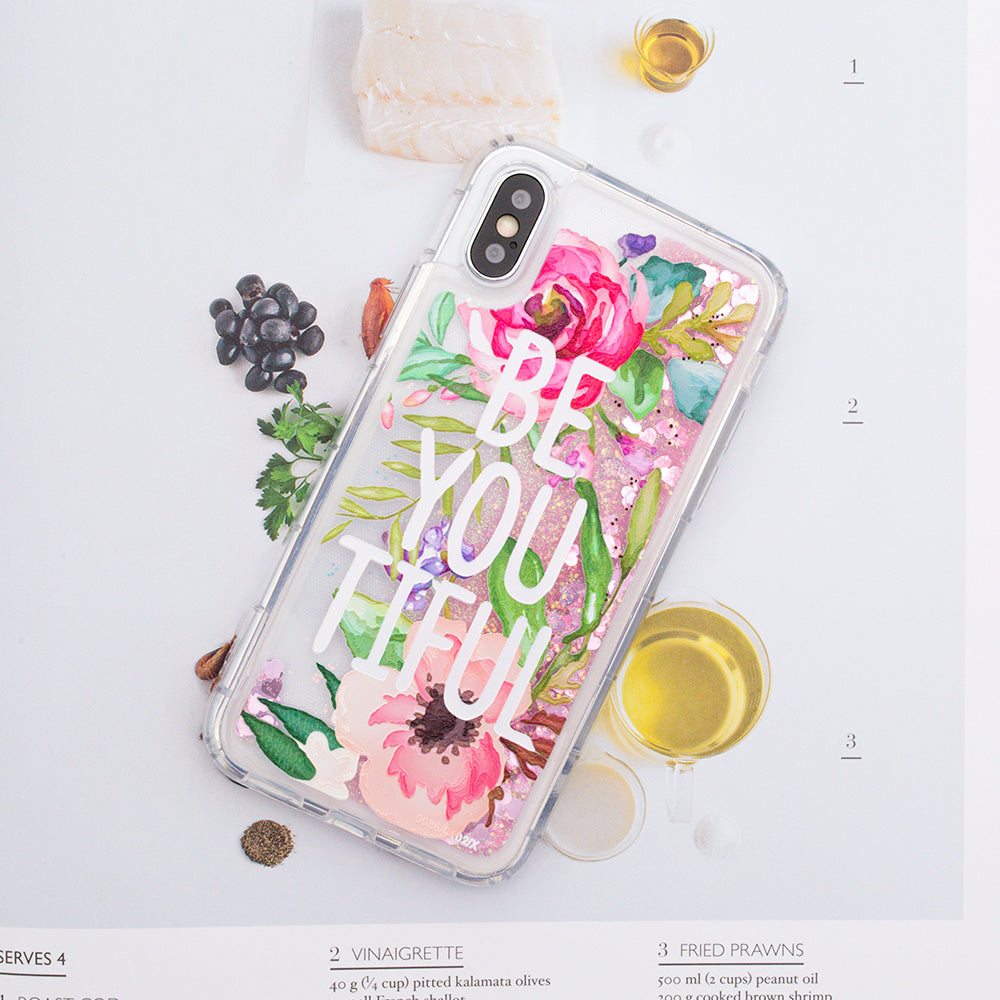 "Glitter liquid shinning ""Be You Tiful"" pattern iPhone X 10 Case"