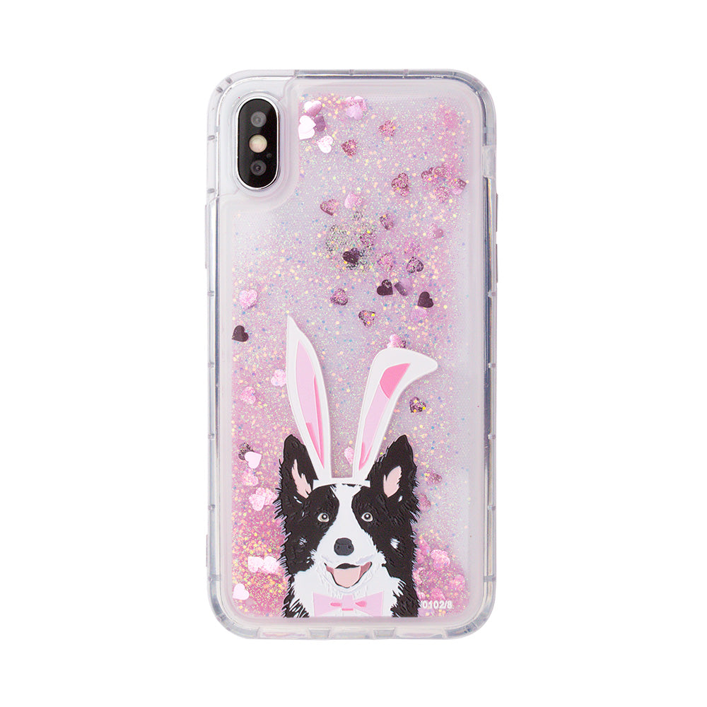 Glitter liquid shinning cute dog pattern iPhone XS Case 5.8""
