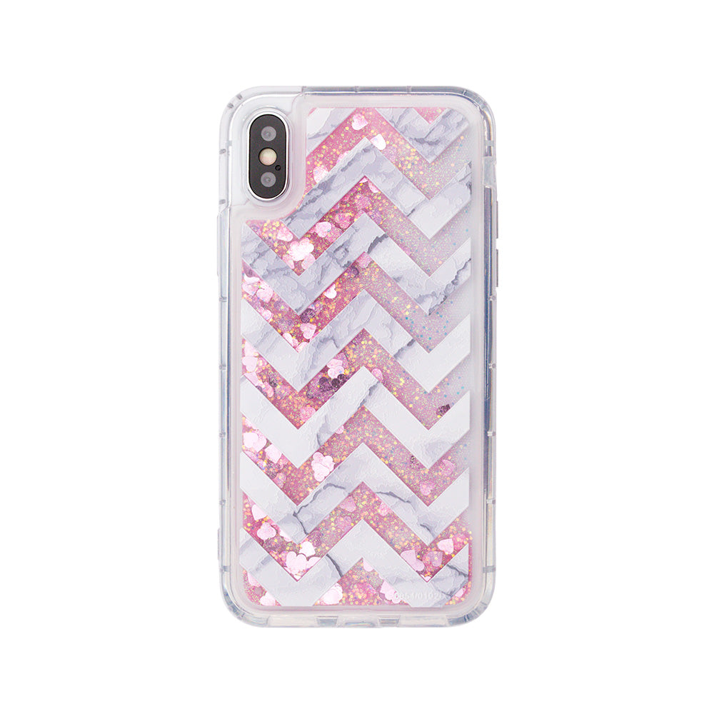 Glitter liquid shinning fashion strips pattern iPhone X 10 Case
