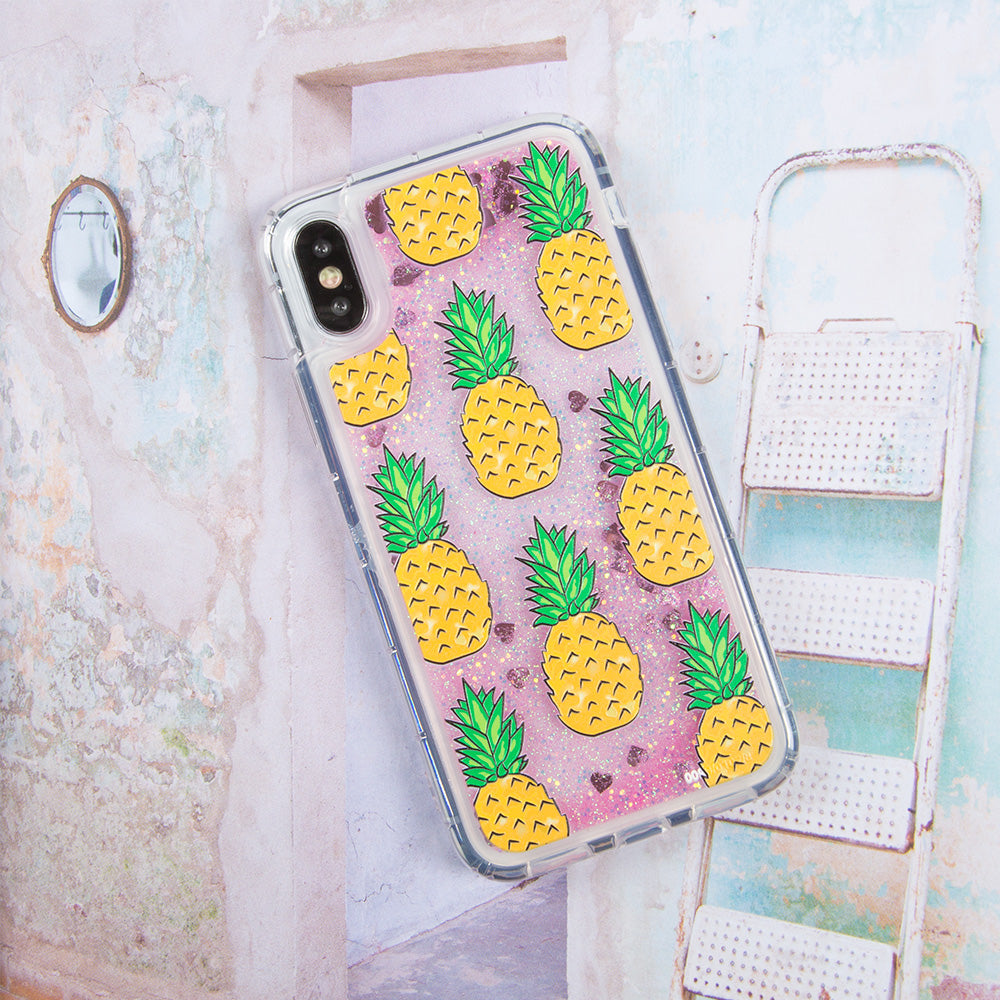 Glitter liquid shinning pineapple pattern iPhone X 10 Case